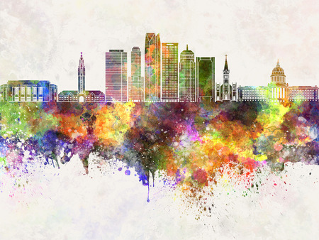 oklahoma city: Oklahoma City skyline in watercolor background