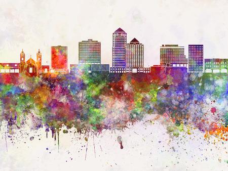 albuquerque: Albuquerque V2 skyline in watercolor background