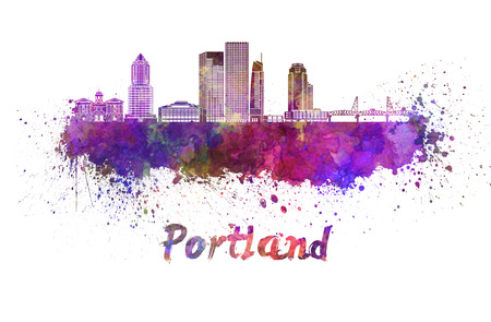 Portland V2 skyline in watercolor splatters with clipping path