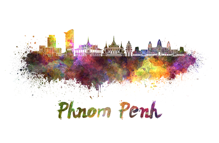 phnom penh: Phnom Penh skyline in watercolor splatters with clipping path