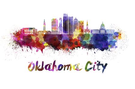 horizonte de la ciudad de Oklahoma en las salpicaduras de la acuarela con el camino de recortes