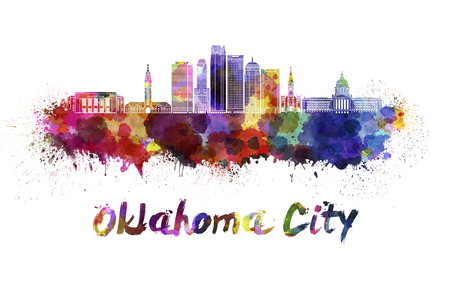 Oklahoma City skyline in watercolor splatters with clipping path Stock Photo