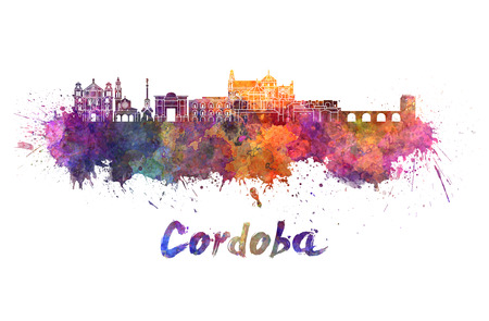 Cordoba skyline in watercolor splatters with clipping path