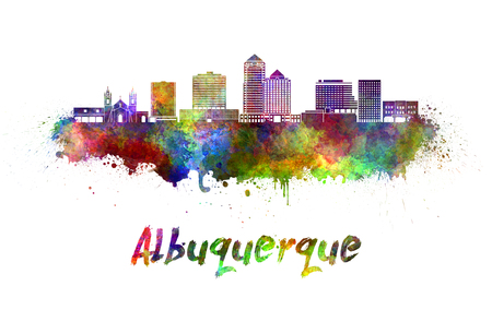 monumento: horizonte de Albuquerque en las salpicaduras de la acuarela con el camino de recortes