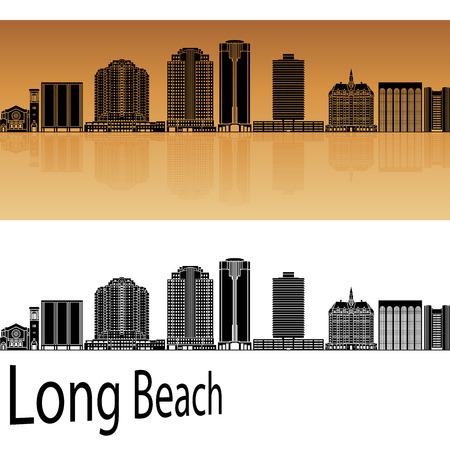 beach panorama: Long Beach skyline in orange background in editable vector file