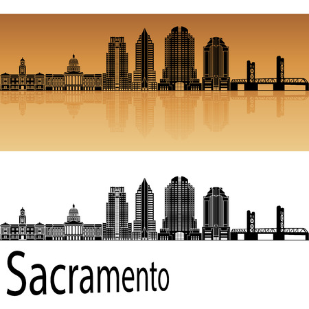 Sacramento skyline in orange background in editable vector file Illustration