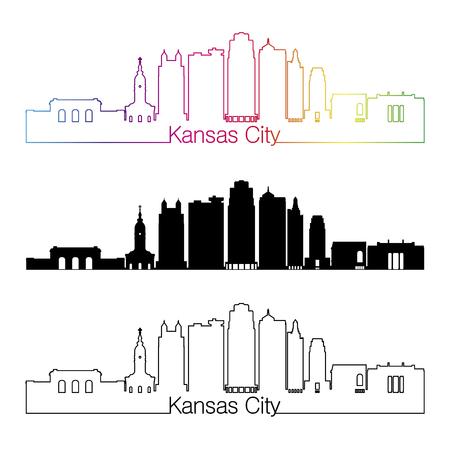 Kansas City skyline linear style with rainbow in editable vector file Illustration