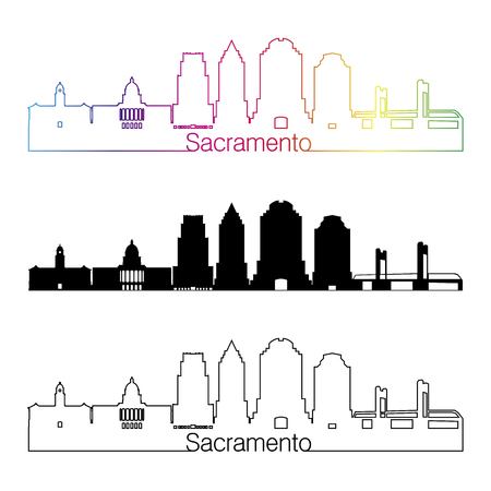 Sacramento skyline linear style with rainbow in editable vector file Illustration