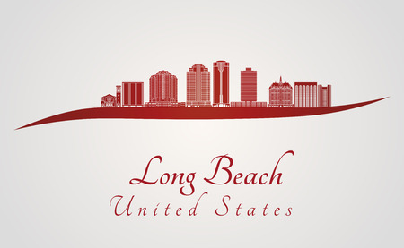 beach panorama: Long Beach skyline in red and gray background in editable vector file Illustration