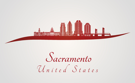 Sacramento skyline in red and gray background in editable vector file