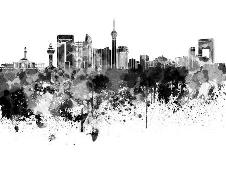 other keywords: Jeddah skyline in black watercolor on white background