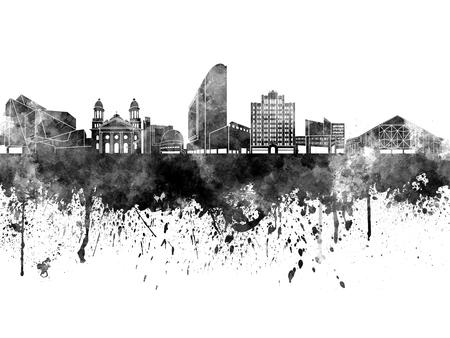 jose: San Jose skyline in black watercolor on white background Stock Photo