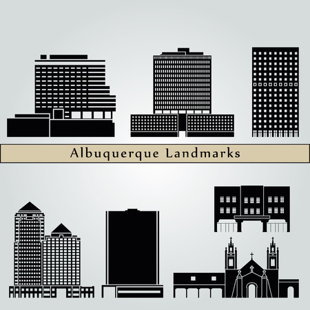 albuquerque: Albuquerque landmarks and monuments isolated on blue background in editable vector file