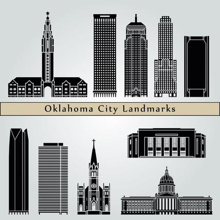 oklahoma city: Oklahoma City landmarks and monuments isolated on blue background in editable vector file