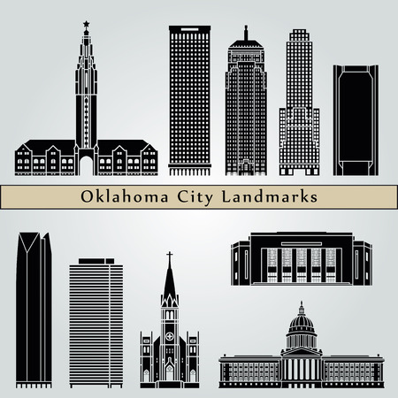 Oklahoma City landmarks and monuments isolated on blue background in editable vector file
