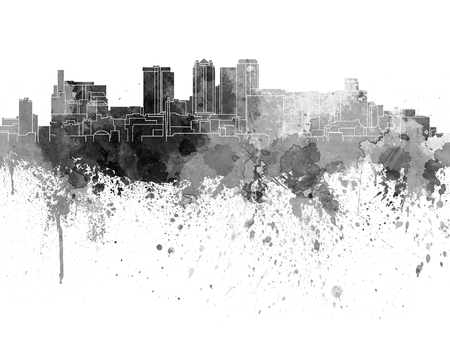 birmingham: Birmingham AL skyline in black watercolor on white background