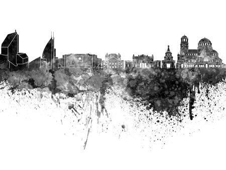 bulgaria: Sofia skyline in black watercolor on white background