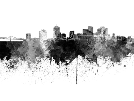 new orleans: New Orleans skyline in black watercolor on white background Stock Photo