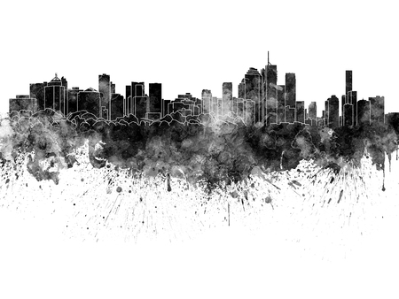 splatter paint: Brisbane skyline in black watercolor on white background