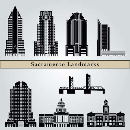 Sacramento landmarks and monuments isolated on blue background in editable vector file
