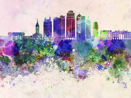 city background: Kansas City skyline in watercolor background Stock Photo