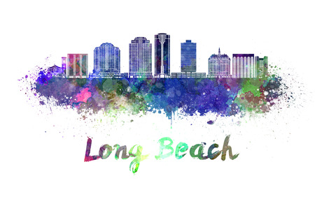 beach panorama: Long Beach V2 skyline in watercolor splatters with clipping path Stock Photo