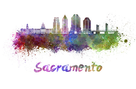Sacramento V2 skyline in watercolor splatters