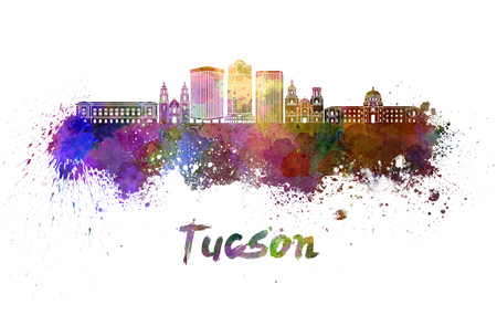 tucson: Tucson V2 skyline in watercolor splatters with clipping path