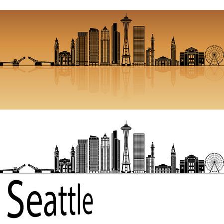 seattle: Seattle skyline in orange background in editable vector file