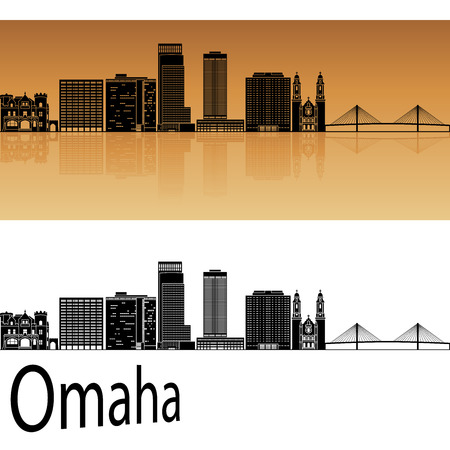horizon: Omaha skyline in orange background in editable vector file Illustration