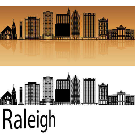 horizons: Raleigh skyline in orange background in editable vector file