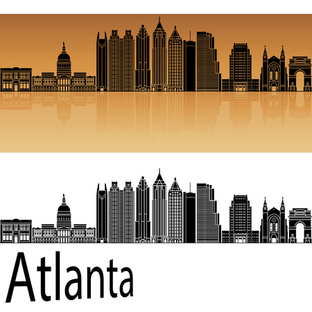 horizons: Atlanta V2 skyline in orange background in editable vector file