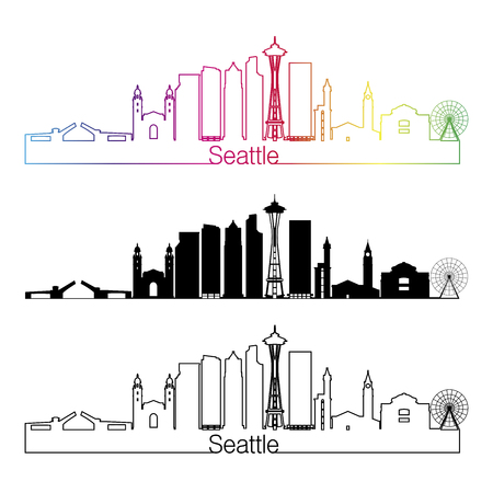 seattle: Seattle skyline linear style with rainbow in editable vector file