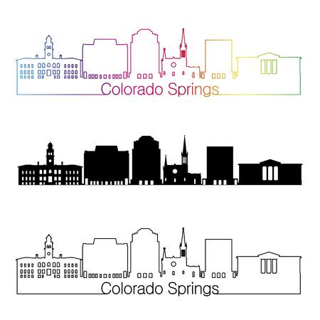 Colorado Springs skyline linear style with rainbow in editable vector file