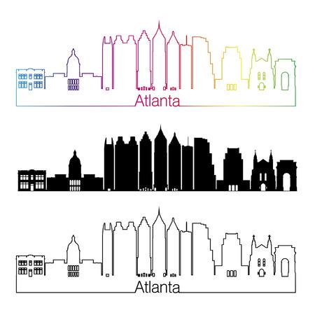 atlanta: Atlanta skyline linear style with rainbow in editable vector file