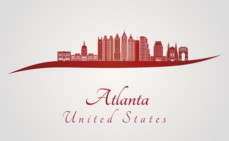 atlanta: Atlanta skyline in red and gray background in editable vector file Illustration