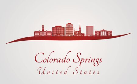colorado springs: Colorado Springs skyline in red and gray background in editable vector file Illustration
