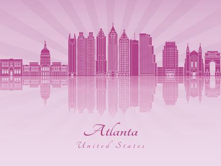 Atlanta skyline in purple radiant orchid in editable vector file Illusztráció