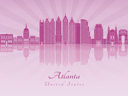 Atlanta skyline in purple radiant orchid in editable vector file Illustration