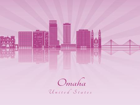 radiant: Omaha skyline in purple radiant orchid in editable vector file Illustration