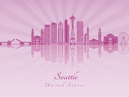 radiant: Seattle skyline in purple radiant orchid in editable vector file Illustration