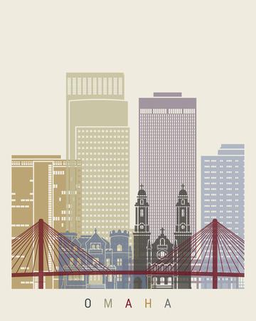 omaha: Omaha skyline poster in editable vector file