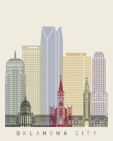 oklahoma city: Oklahoma City skyline poster in editable vector file