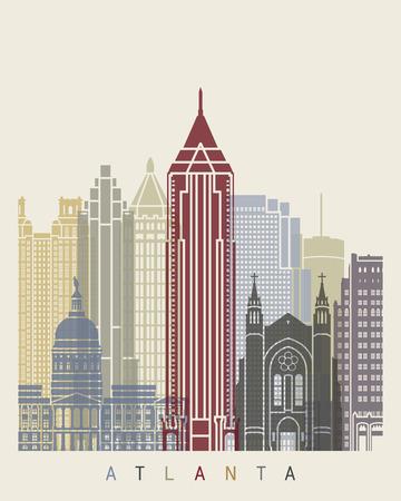 atlanta: Atlanta skyline poster in editable vector file Illustration