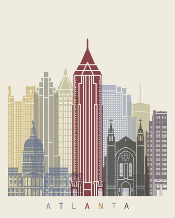 Atlanta skyline poster in editable vector file Illustration