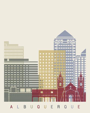 albuquerque: Albuquerque skyline poster in editable vector file