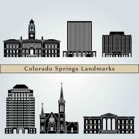 colorado springs: Colorado Springs landmarks and monuments isolated on blue background in editable vector file
