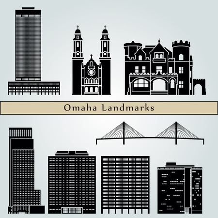 omaha: Omaha landmarks and monuments isolated on blue background in editable vector file