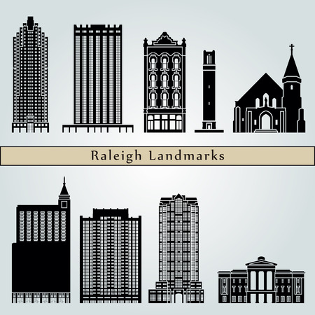 Raleigh landmarks and monuments isolated on blue background in editable vector file