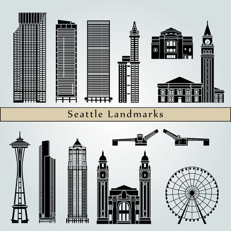 seattle: Seattle landmarks and monuments isolated on blue background in editable vector file